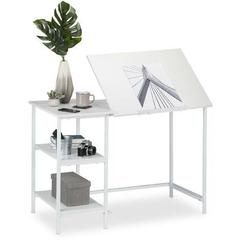 Escritorio reclinable, Tres estantes, Ajustable, Mesa de PC, 75 x 110 x 55 cm, Blanco