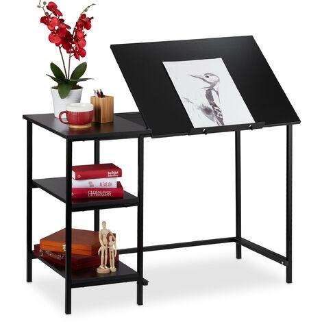 Escritorio reclinable, Tres estantes, Ajustable, Mesa de PC, 75 x 110 x 55 cm, Negro