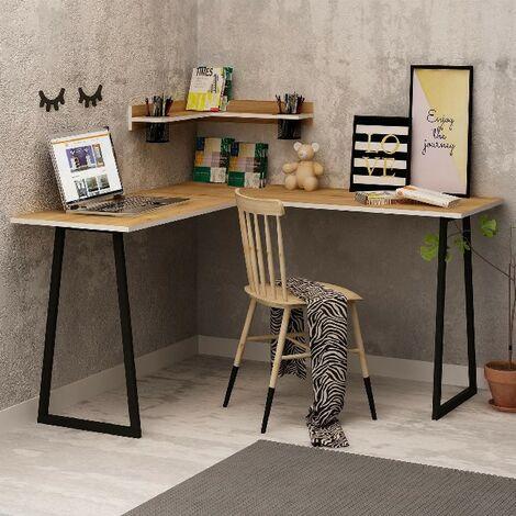 Escritorio Tirolo - Esquina - con estante - para oficina, estudio, dormitorio - Roble, Blanco en Madera, 150 x 100 x 90 cm