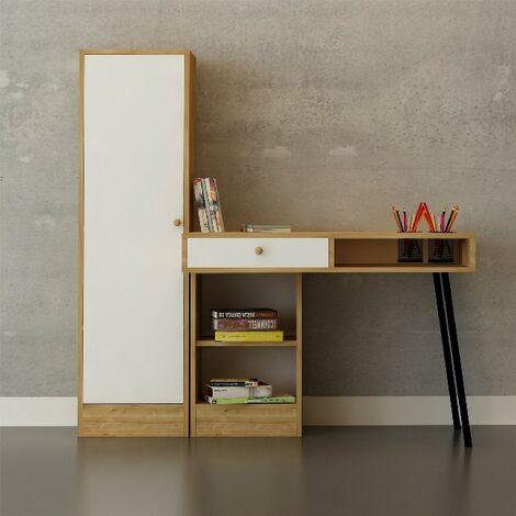 Escritorio Tuna - con armario integrado, estante, puertas, portalapices - para oficina, estudio, dormitorio - Roble, Blanco, Negro en Madera, Metal, 100 x 60 x 140 cm