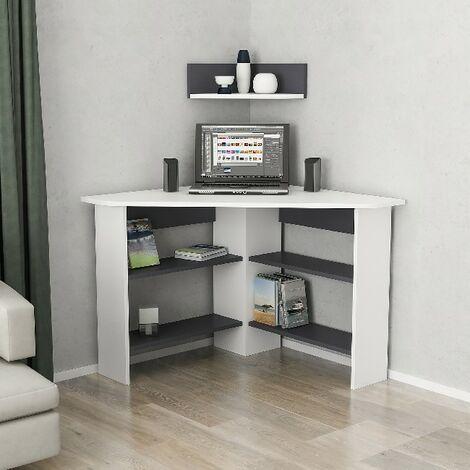 Escritorio Tuzzy de Esquina en Forma de L, con Compartimientos, Estante - para Estudio, Dormitorio - Blanco, Antracita en Madera, 90 x 90 x 74 cm
