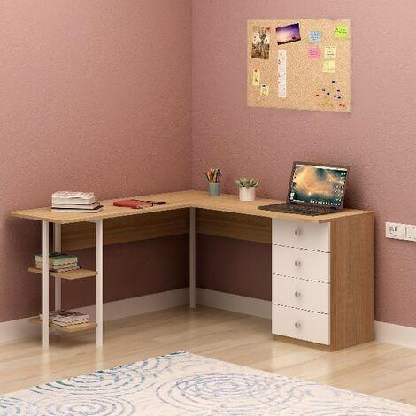 Escritorio Vimba - Esquina - con estante, cajones - para oficina, estudio, dormitorio - Roble, Blanco en Madera, Metal, 150 x 150 x 74 cm