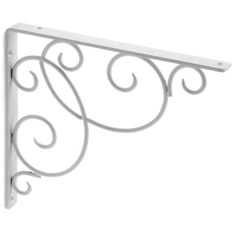 Escuadra para estantes con estilo decorativo, fabricada en acero y con acabado crema.