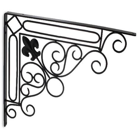 Escuadra para estantes con estilo decorativo, fabricada en acero y con acabado negro forja.