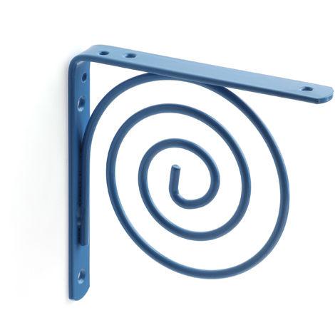 Escuadra para estantes SPIRAL: de estilo juvenil, fabricada en acero y con acabado azul celeste.