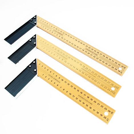 Escuadras carpintería Set 3 unidades 250- 350mm Ángulo 90° Tope angular Medición Regla carpintero