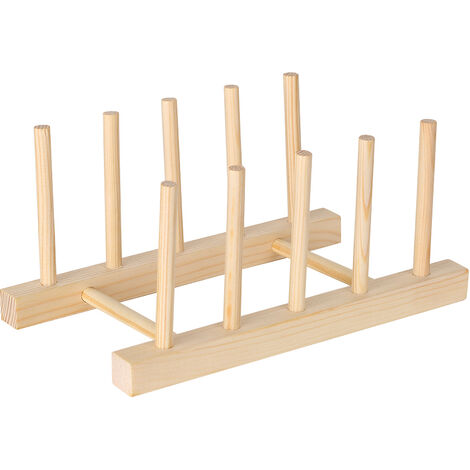 Escurridor de platos de madera multiusos Platos Escurridor de secado Soporte de almacenamiento