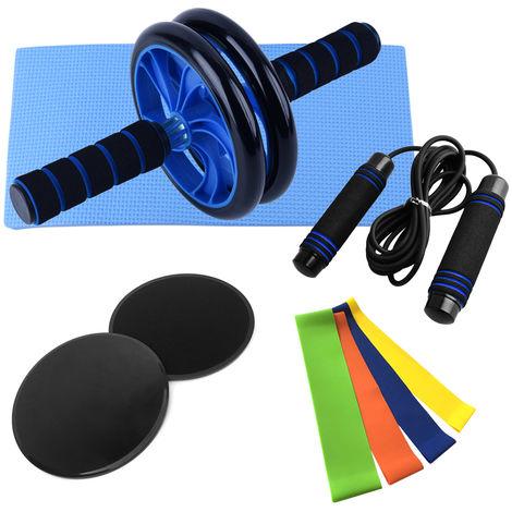 Esercizio della ruota addominale Set da 9 pezzi, ruota addominale blu con ginocchiera + 2 dischi scorrevoli neri + corda per saltare allenamento fisico 3 metri blu + 4 cinturini