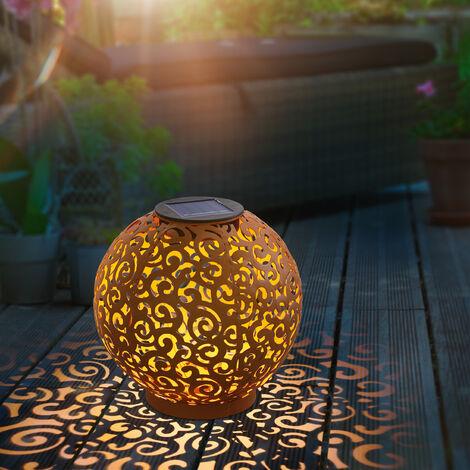 Esfera solar LED de metal Samira de 20cm decorativa en óxido para jardín esotec 102376