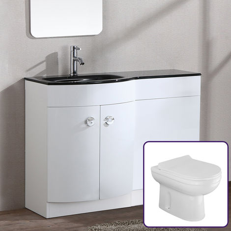 Eslo 1100mm White Combination Basin Vanity Unit btw Toilet - Left Hand