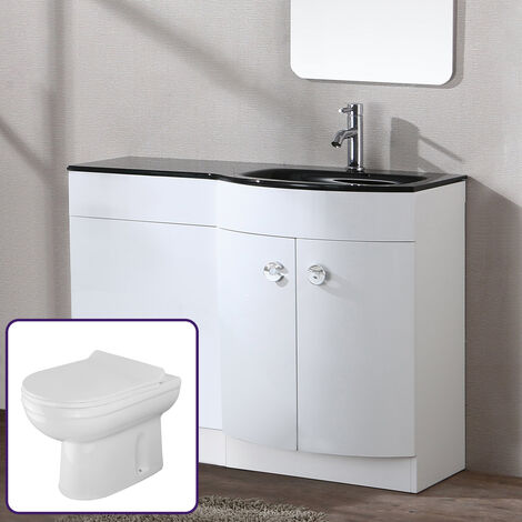 Eslo 1100mm White Combination Basin Vanity Unit btw Toilet - Right Hand