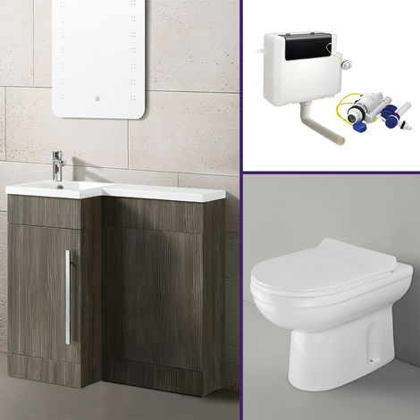 Eslo 900mm Left Hand Bathroom Wood Grey Vanity Basin Back To Wall Toilet