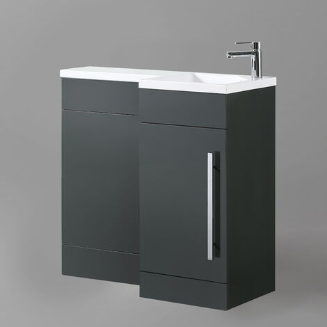 Eslo 900mm Right Hand Bathroom Grey Vanity Basin Back To Wall Toilet