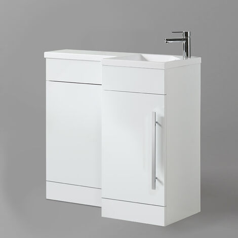 Eslo 900mm Right Hand Bathroom White Basin Vanity Back To Wall Toilet