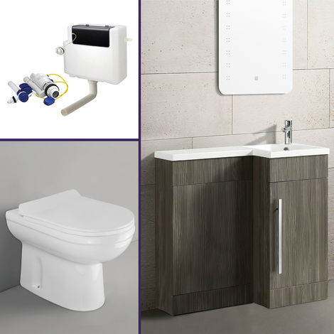 Eslo 900mm Right Hand Bathroom Wood Grey Vanity Basin Back To Wall Toilet