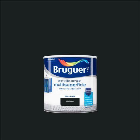 Esmalte Acrílico Multisuperficie Bruguer Brillante Gris Medio 250ml