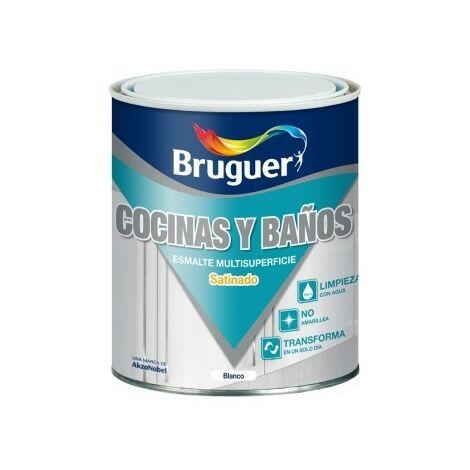 Esmalte Acrilico Satinado 750 Ml Blanco Cocina/Baño Bruguer