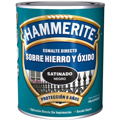 Esmalte Para Metal Hammerite Satinado Negro 750ml
