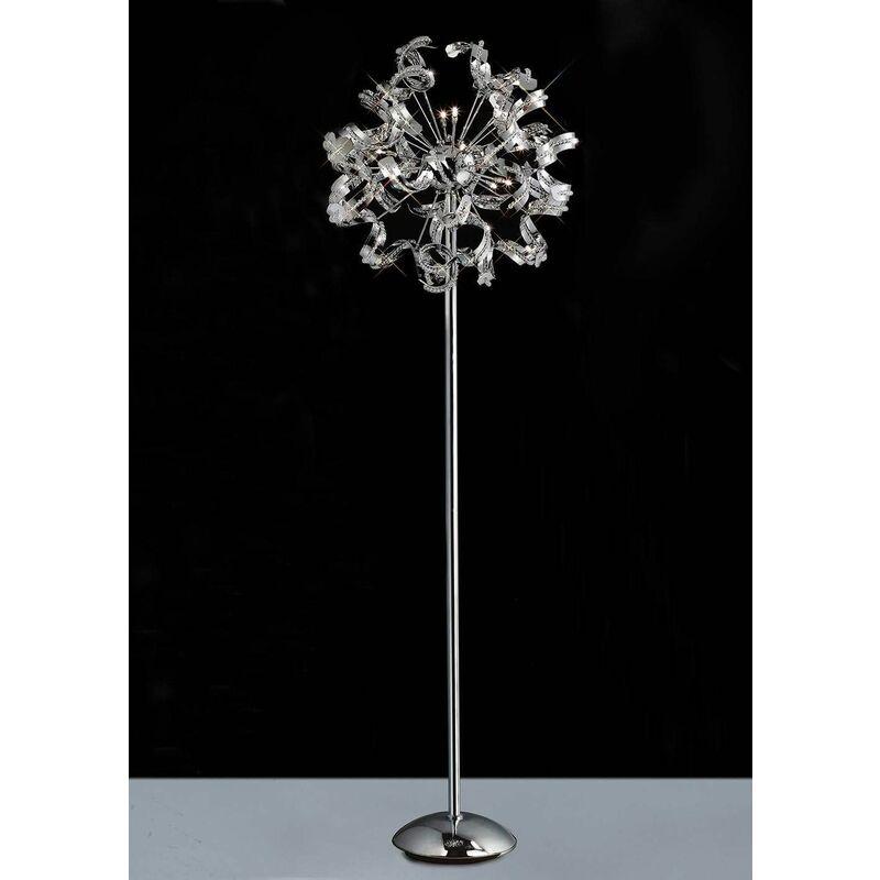 Image of 09-diyas - Esme floor lamp 12 bulbs polished chrome / crystal