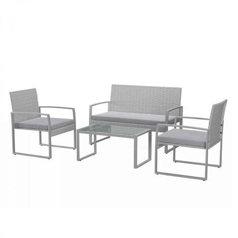 Esna Muebles bajos de jardín de resina trenzada 4 p