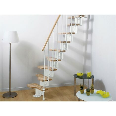 Espace barres de main courante escalier multi-usage de pixima - acier blanc escalier en hêtre clair