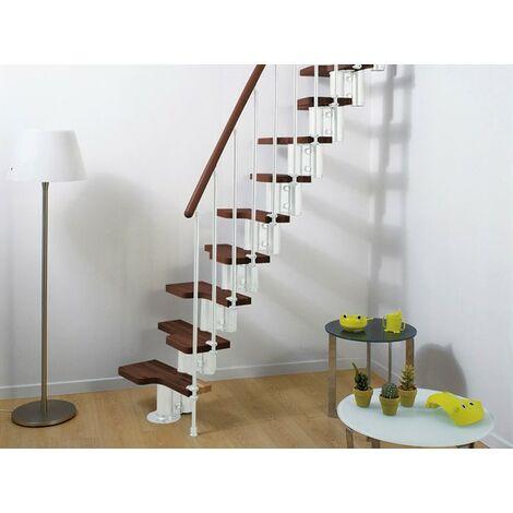 Espace barres de main courante escalier multi-usage de pixima - acier blanc escalier en hêtre foncé