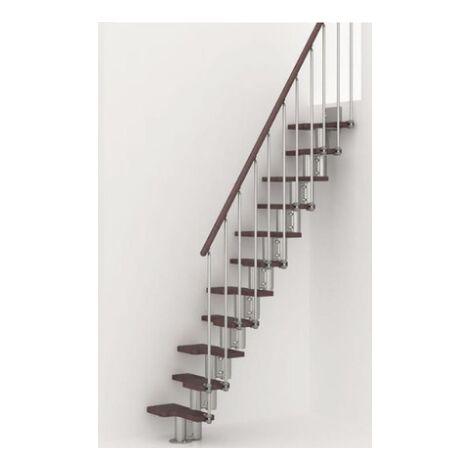 Espace barres de main courante escalier multi-usage de pixima - acier chromé escalier en hêtre foncé