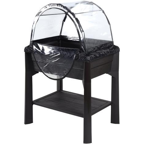 Espace potager VEG&TABLE avec serre - Anthracite - 79 x 59 x 80 cm - 67L