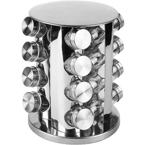 """main image of """"Especiero Organizador Giratorio Acero Inox, Juego de 16 botes para especias de cocina. PortaEspecias 28x18,5 cm"""""""