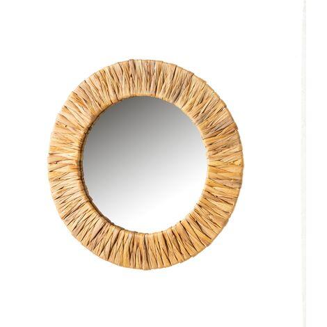 Espejo acordonado natural de rattán y metal de 37x37 cm