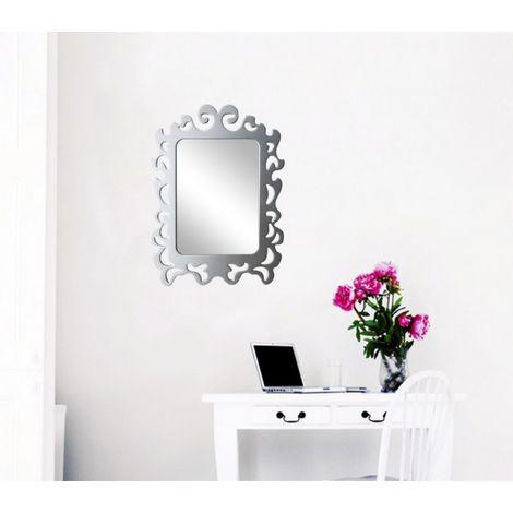 Espejo adhesivo pared con marco para armarios pasillos (32x23cm) | Cuadrado