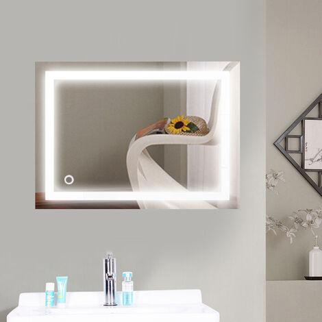 "main image of ""Espejo baño, Espejo baño con luz, Interruptor táctil, Suspensión Vertical/Horizontal, 22W, Luz LED Blanca fría 50 x 70 cm - bleu-noir"""