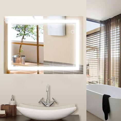 """main image of """"Espejo baño, Espejo baño con luz, Interruptor táctil, Suspensión Vertical/Horizontal, 22W, Luz LED Blanca fría 60 x 80 cm"""""""