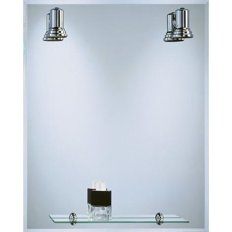 Espejo Baño Focos + Repisa Cromo 60X75 Cm - BATH STAGE