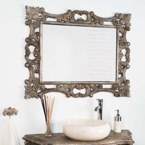 Espejo barroco de madera con pátina bronce 100 x 80 cm