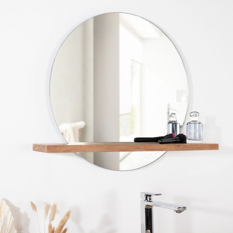 Espejo Bolonia redondo de teca maciza para cuarto de baño ...