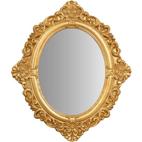 Espejo colgante de pared en madera con acabado de hoja de oro envejecida