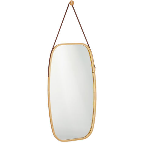 Espejo colgante, Marco de bambú, Correa ajustable, Oval, Moderno, Pasillo & Dormitorio, Marrón