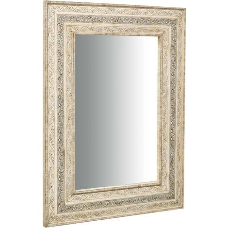 Espejo colgante vertical/horizontal de madera y hueso de camello L95xPR5XH122 Cm