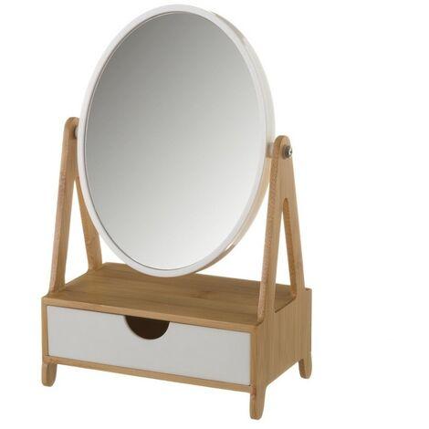 Espejo con Cajón, realizado en Bambú, de color Blanco y Beige, para el Baño. Diseño Nórdico, con estilo Elegante - Hogar y Más
