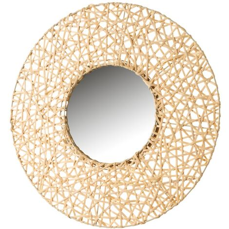 Espejo con rejilla natural de rattán de 55x55 cm