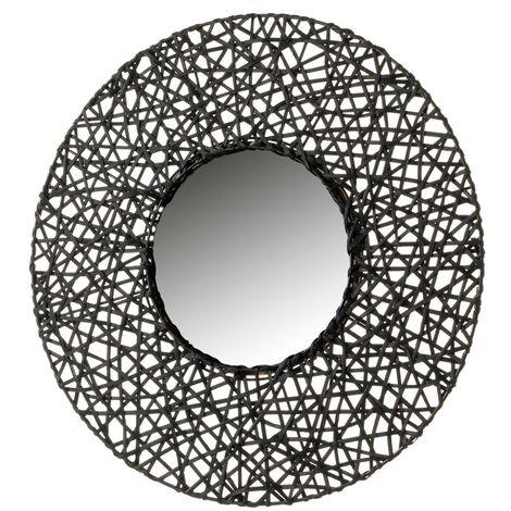 Espejo con rejilla negro de rattán de 55x55 cm
