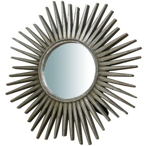 Espejo con soporte, acabado en plata envejecido (cm: 24 x 3 x 24)