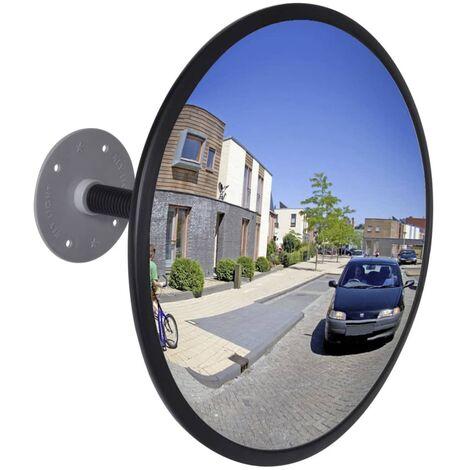 Espejo de tráfico convexo de interior acrílico negro 30 cm