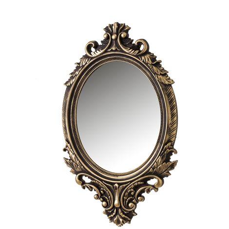 Espejo cornucopia clásico dorado de PVC de 54x33 cm