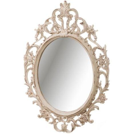 Espejo cornucopia ovalado clásico beige de plástico de 70x50 cm