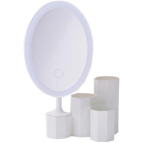Espejo cosmetico LED con base de almacenamiento Organizador Rotacion de 180 ¡ã Brillo ajustable, Estilo 2