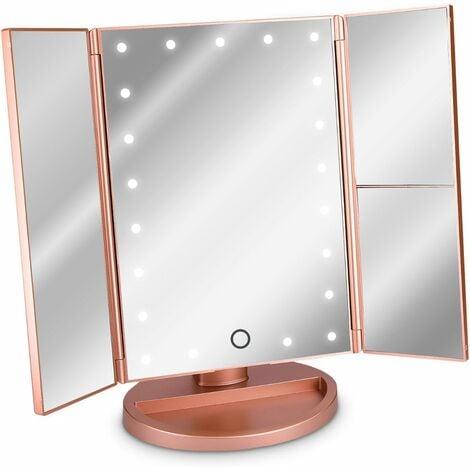 Espejo cosmético LED Espejo de pie plegable - Espejo de maquillaje iluminado 2 x 3 x Espejo de aumento - en oro rosa