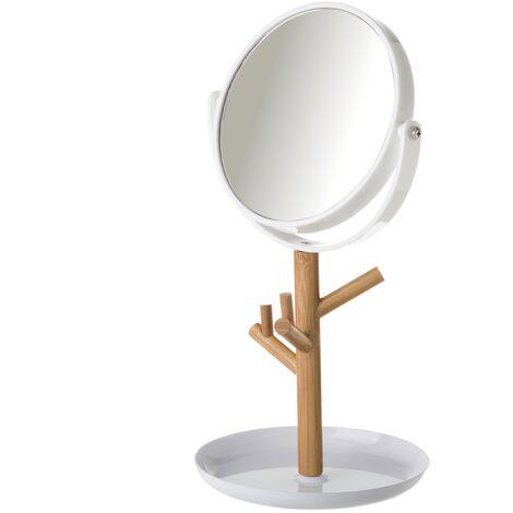 Espejo de 2 aumentos blanco de bambú nórdico de 34x18x17 cm