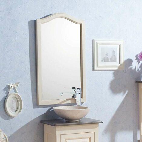 Espejo de 50 cm en caoba blanca envejecida - Garriguo